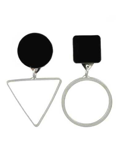 Silver Triangle Round Stud Earrings