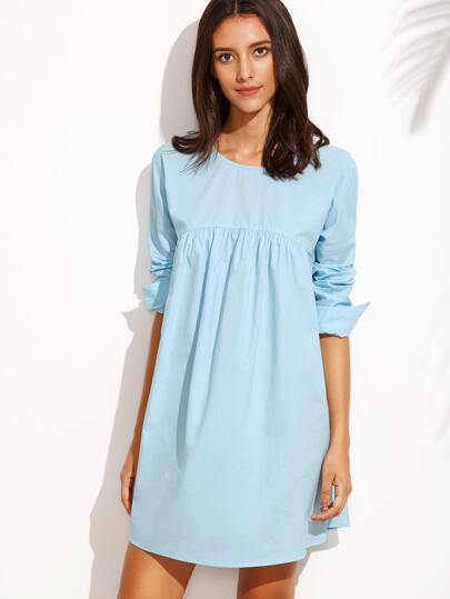 Blue Tie Back Round Neck Long Sleeve Shift Dress