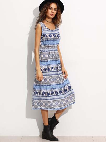 Elephant Print Elastic Waist Tank Dress