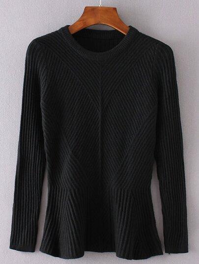 Black Ruffle Hem Ribbed Sweater