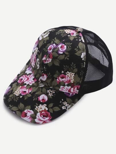 Floral Print Front Black Mesh Snapback Baseball Cap