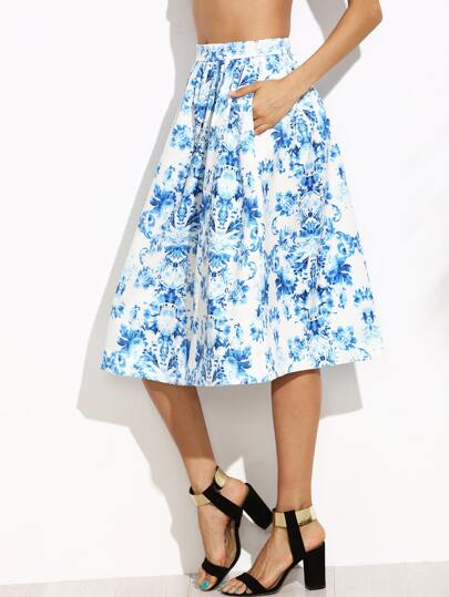 Blue And White Floral Pocket Pleated Skirt