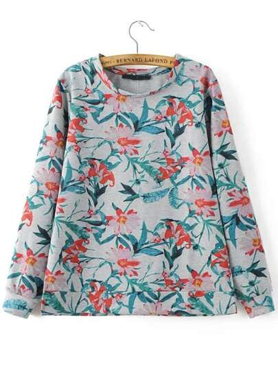 Floral Band Collar Long Sleeve Sweatshirt