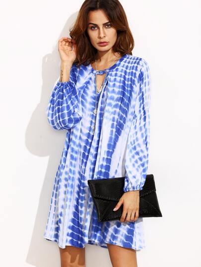 Blue Print Cut Out Long Sleeve Shift Dress