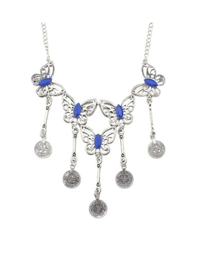 Blue Butterfly Statement Necklace