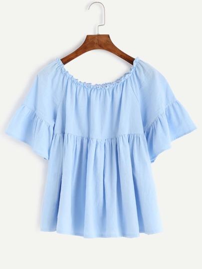Blue Ruffle Sleeve Babydoll Top
