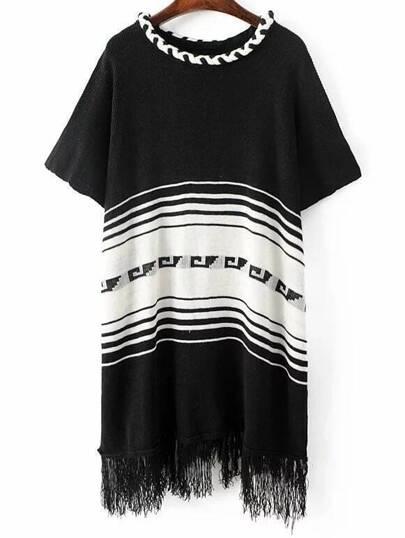 Black Striped Elbow Sleeve Fringe Poncho Sweater