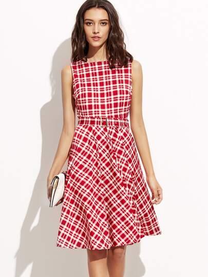 Red Plaid Zipper Back A-Line Dress With Belt