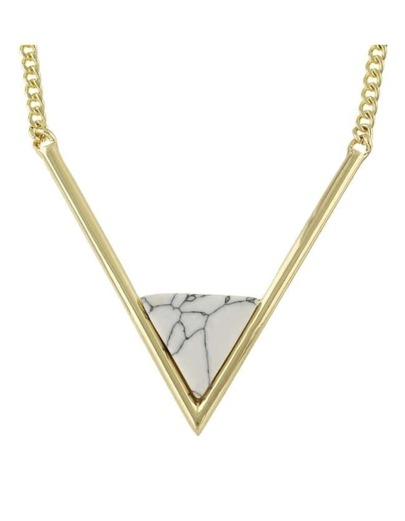Gold Chain Triangle Turquoise Necklace