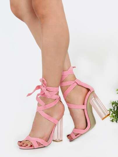 Perspex Wrap Up Heels PINK