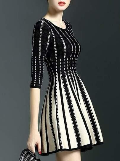 Black Crew Neck Pleated Knit A-Line Dress