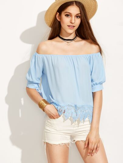 Blue Off The Shoulder Crochet Trim Tied Sleeve Blouse