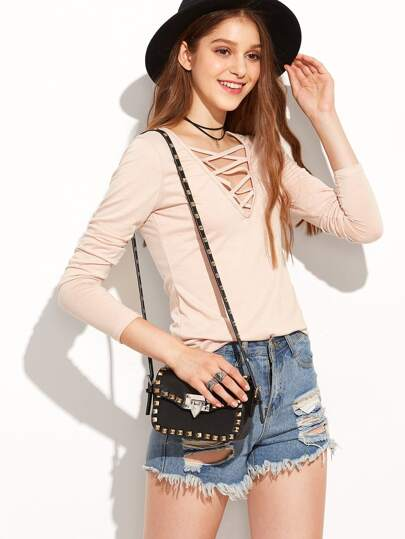 Apricot Deep V Neck Lattice Front T-shirt