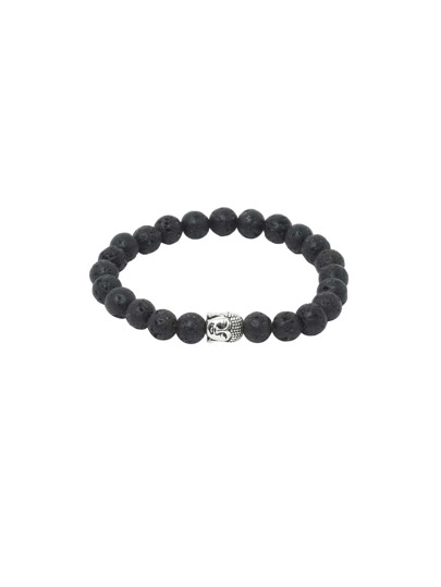 Black Faux Stone Beaded Buddha Head Stretch Charm Bracelet