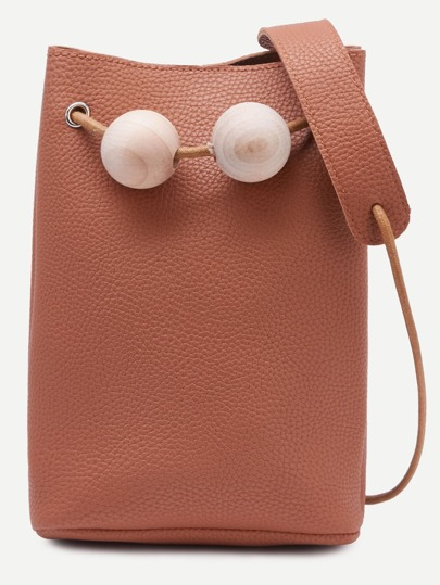 Brown Wood Balls Snap Button Closure Bucket Bag