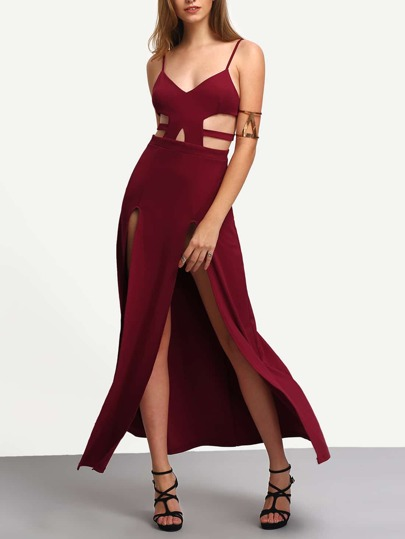 Red Spaghetti Strap Cutaway Split Maxi Dress