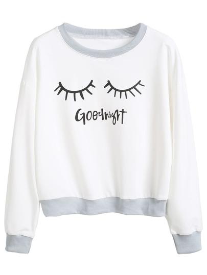 White Eyelash Print Contrast Trim Sweatshirt