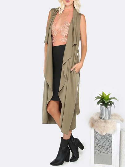 Veste longue sans manche avec lacet - olive