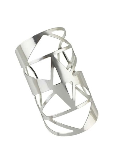 Silver 2016 New Hollow Out Big Statement Cuff Bracelet