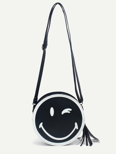 Black Smiling Face Print Tassel Trim Round Crossbody Bag