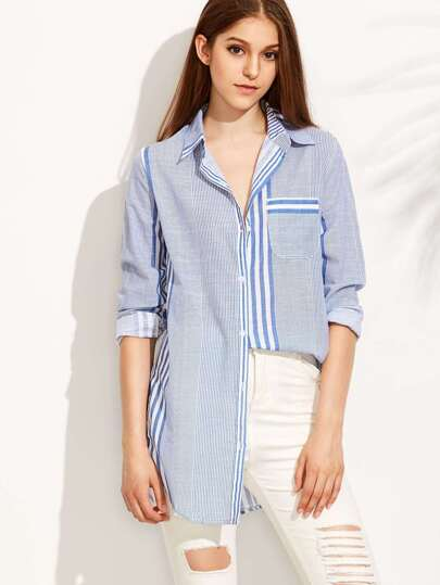 Blue Striped Curved Hem Shirt