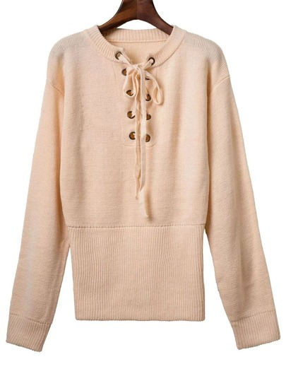 Khaki Ribbed Cuff Wide Hem Lace Up Sweater