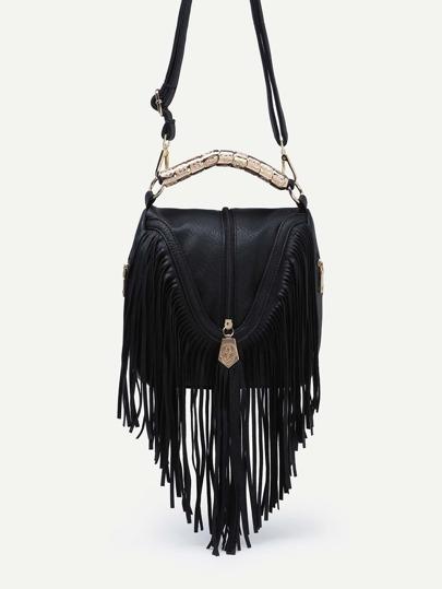 Black Zip Embellished Fringe Trim Flap Bag