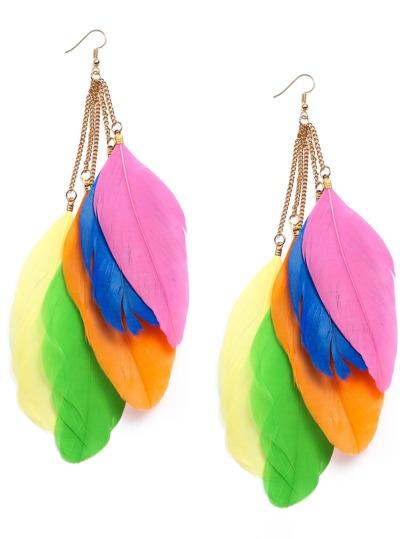 Multicolor Feather Drop Earrings