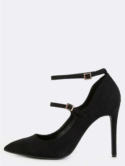 Pointy Toe Double Strap High Heels BLACK