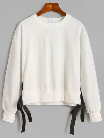 White Drop Shoulder Eyelet Tie Side Sweatshirt
