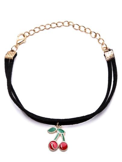 Black Double Layer Cherry Charm Bracelet