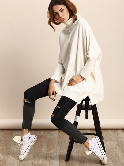 White Turtle Neck Split Side Batwing Sleeve Sweater