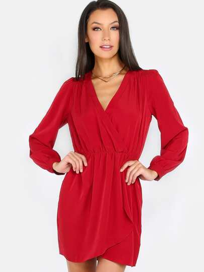 Gathered Long Sleeve Dress RED