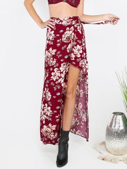 Wrap Tie Floral Slit Skirt Burgundy