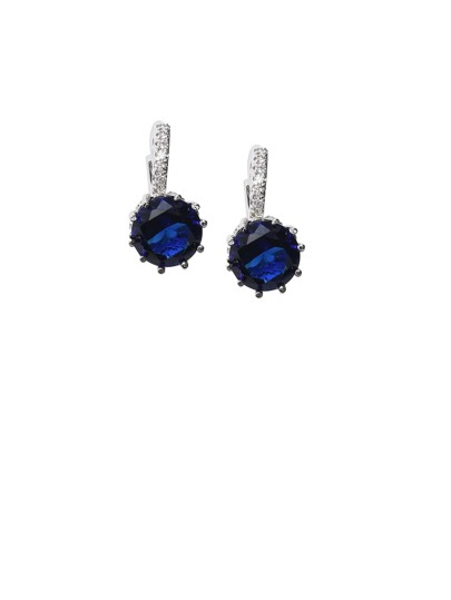 Silver Plated Blue Rhinestone Arc Earrings