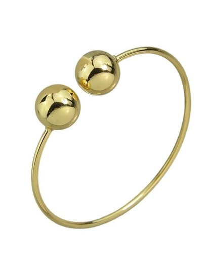 Gold Simple Model Double Metal Ball Thin Bracelet