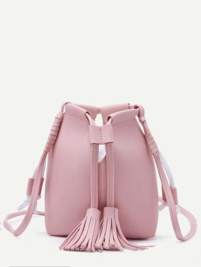 Pink Tassel Drawstring PU Bucket Bag