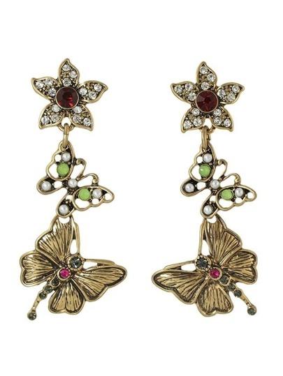 Created Pearl Long Butterfly Earrings