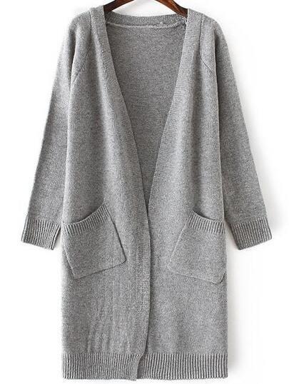 Grey Collarless Ribbed Trim Long Cardigan With Pockets