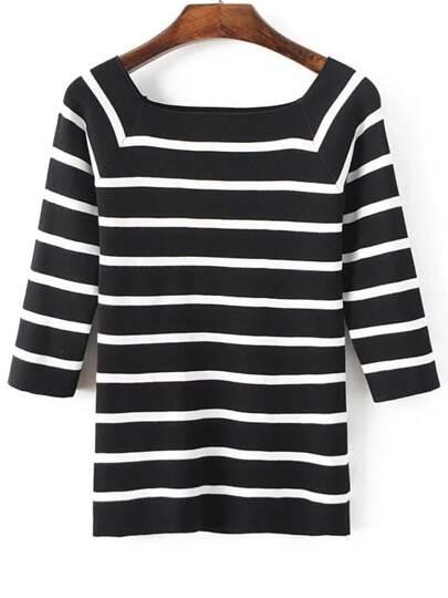 Black Striped Square Neck Raglan Sleeve Knitwear