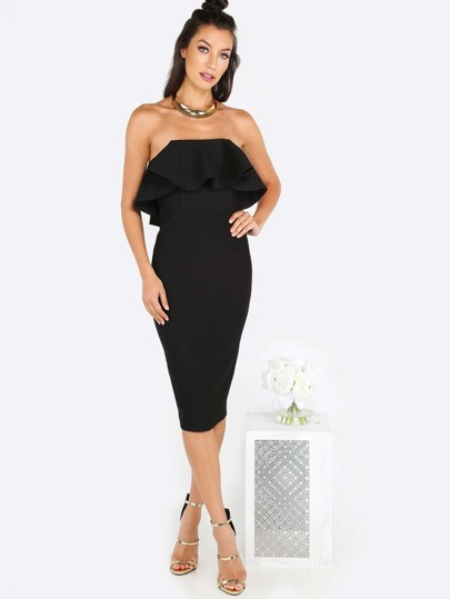 Strapless Bust Overlay Midi Dress BLACK