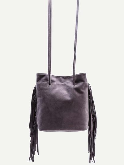 Grey Faux Suede Fringe Tassel Bucket Bag