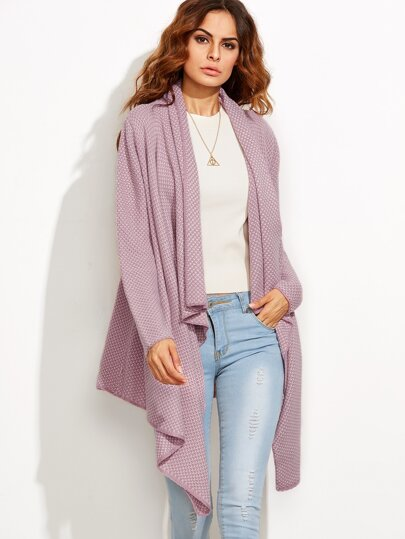 Purple Cardigan Asymétrique Sweater