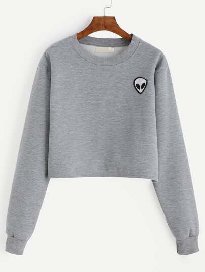 Grey Alien Patch Crop Sweatshirt