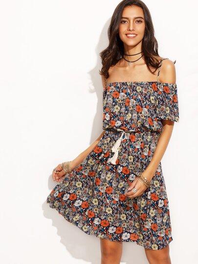 Multicolor Floral Print Drawstring Waist Fringe Dress
