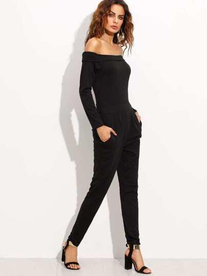 Combi-pantalons épaules nues manche longue - noir