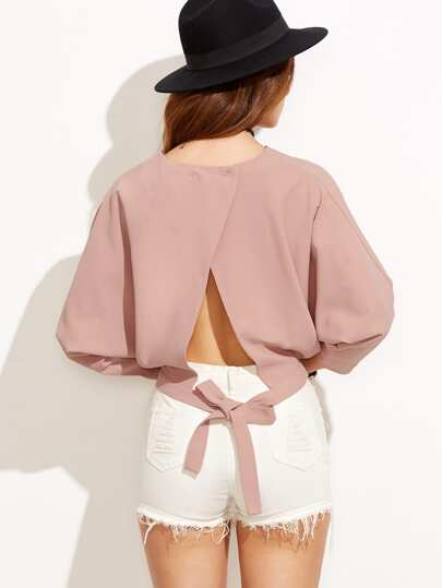 Pink Tie Back Long Sleeve Blouse