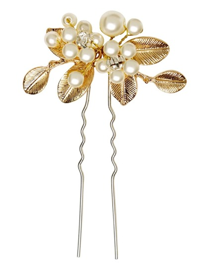 Vintage Gold Plated Leaf Faux Pearl Hair Pin