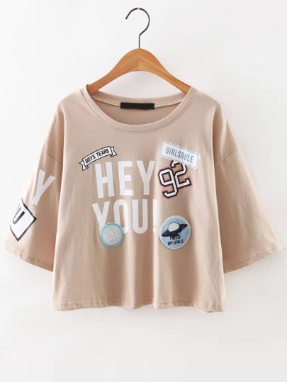 Drop Shoulder Stamp Patch T-Shirt