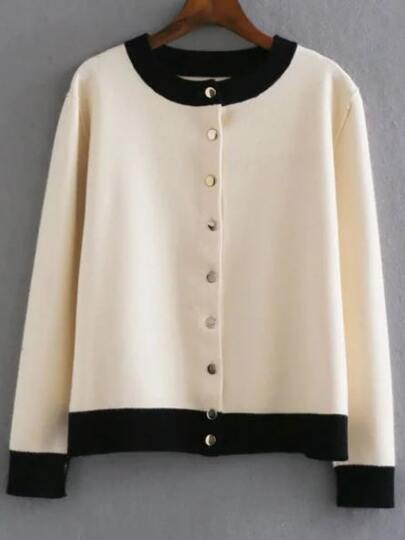 Beige Single Breasted Knitted Bomber Jacket